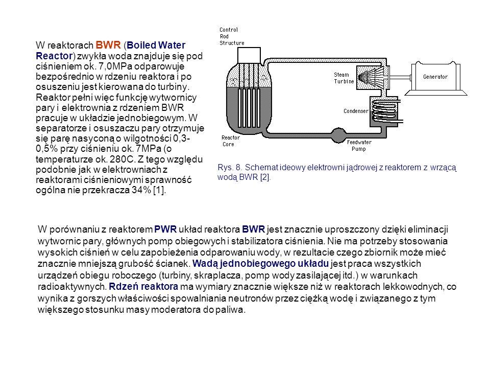 W reaktorach BWR (Boiled Water Reactor) zwykła woda znajduje się pod ciśnieniem ok. 7,0MPa odparowuje bezpośrednio w rdzeniu reaktora i po osuszeniu jest kierowana do turbiny. Reaktor pełni więc funkcję wytwornicy pary i elektrownia z rdzeniem BWR pracuje w układzie jednobiegowym. W separatorze i osuszaczu pary otrzymuje się parę nasyconą o wilgotności 0,3-0,5% przy ciśnieniu ok. 7MPa (o temperaturze ok. 280C. Z tego względu podobnie jak w elektrowniach z reaktorami ciśnieniowymi sprawność ogólna nie przekracza 34% [1].
